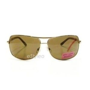 Betsey Johnson Aviator Sunglasses Shield Gold